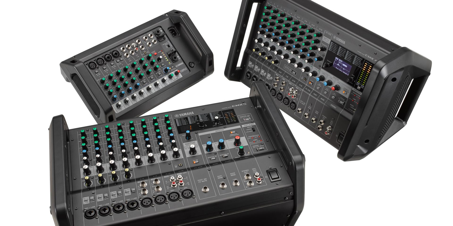 I modelli Yamaha EMX sono dotati di amplificatori integrati, riuscendo comunque a rimanere sorprendentemente leggeri. I modelli sono inoltre dotati di una funzione di protezione da sovraccarico per migliorarne l'affidabilità e la qualità delle prestazioni.
