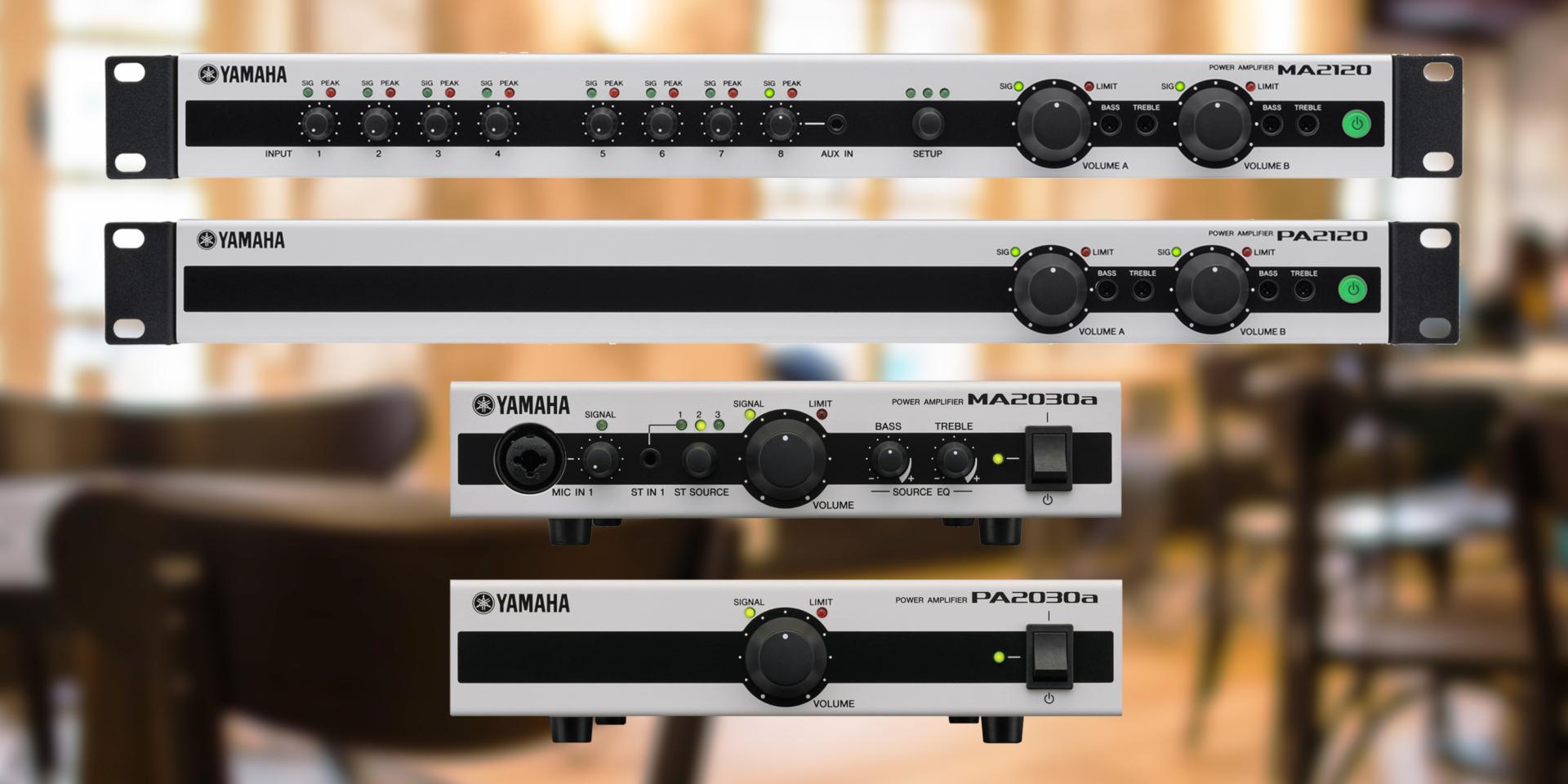 Gli amplificatori Yamaha Serie MA e PA offrono funzioni potenti in uno chassis in metallo resistente e compatto ideale per installazioni commerciali. Progettati per un'operatività semplice e intuitiva, non richiedono alcuna esperienza musicale o tecnica.