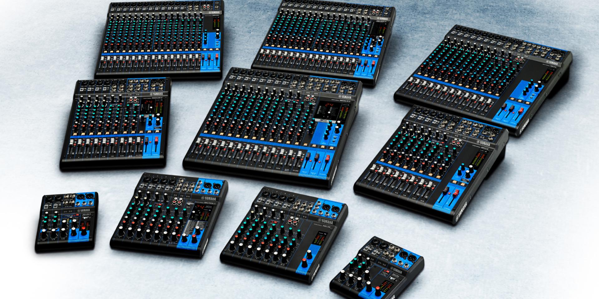 Con un'interfaccia intuitiva e facile da usare, la serie MG vanta una vasta gamma di modelli che vanno da sei a venti canali, perfetti per applicazioni live, recording e install. Nei modeli XU troviamo inoltre l'acclamato Multieffetto SPX Yamaha, la connessione USB per riprodurre o registrare 2in/out a 24Bit/192kHz e una licenza in bundle di Cubase AI.