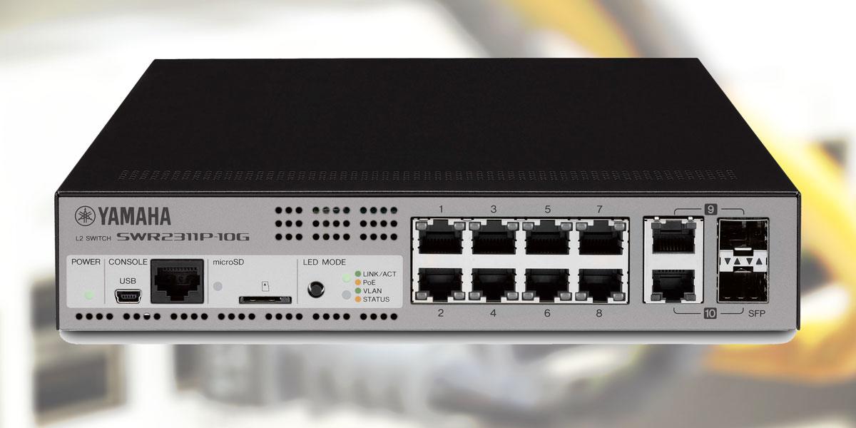 Lo switch Yamaha modello SWR2311P-10G non solo semplifica la progettazione dei sistemi di rete audio, ma ne consente anche un'installazione più intelligente e veloce, offrendo una serie di preset già programmati per i network Dante.
